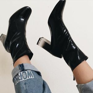 Zara Black Patent Leather Ombre Booties